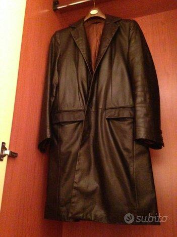 Cappotto da uomo in vera pelle nera