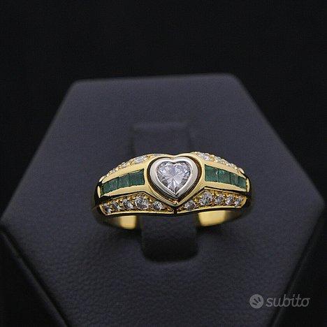 Anello emotion oro 18kt smeraldi 0.35 ct diamanti