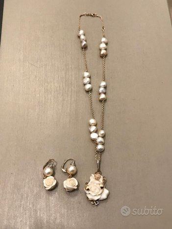 Parure girocollo orecchini perle oro giallo e bril