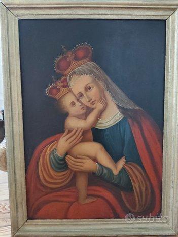 Dipinto Antico Madonna con Bambino XIX Secolo