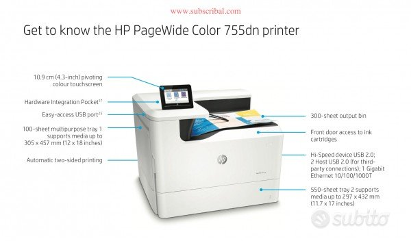 STAMPANTE HP Pagewide color 755dn