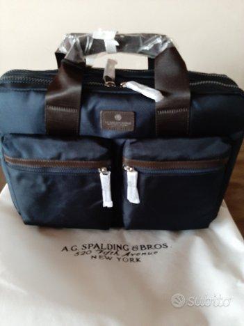 Ag Spalding bros. borsa ufficio blu nuova original