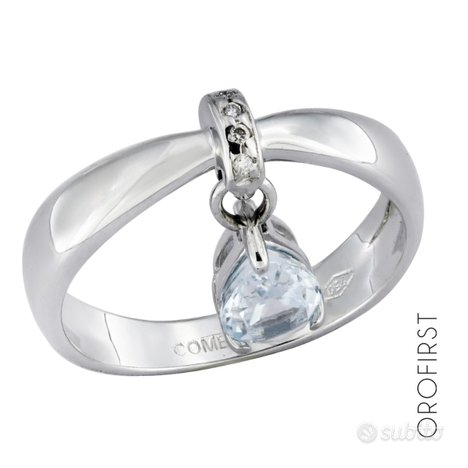 Anello Comete oro ,diamanti 0,01ct e acquamarina