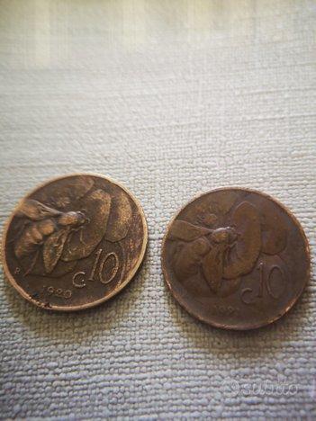 Moneta antica 10 cent. Ape Vittorio Emanuele iii