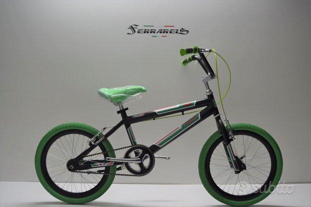 Bici bimbo bmx 20 nera verde da 5 a 8 anni