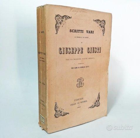 1863 - scritti vari in prosa e in versi di giusti