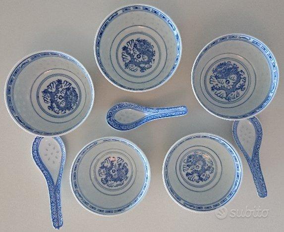 Ciotole per brodo porcellana blu bianca 8 pezzi