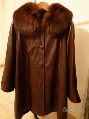 Cappotto donna in pelle con collo a pelliccia