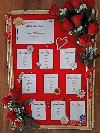Tableau mariage e addobbi rossi per matrimonio