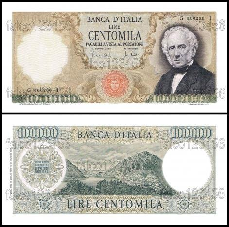 100.000 lire manzoni banconota repubblica fds