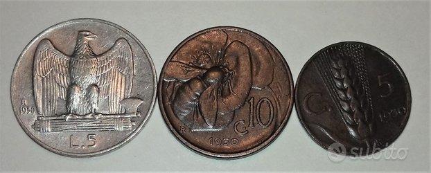 Regno italia 1930 lire 5 argento spl-cent.10 rame