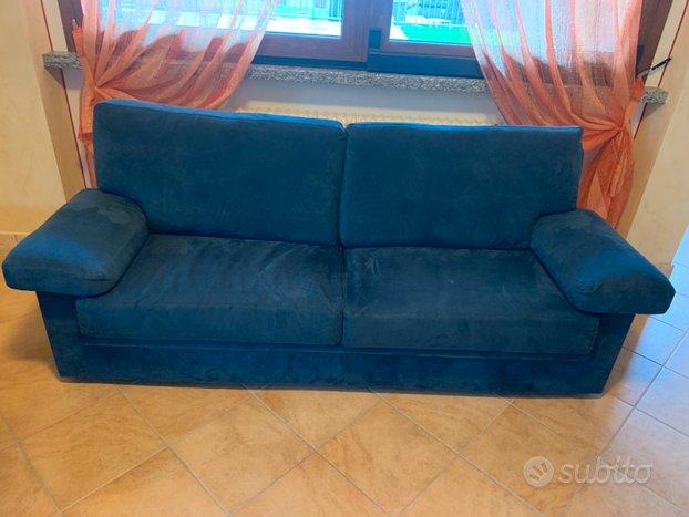 Coppia di divani in vera alcantara blu notte