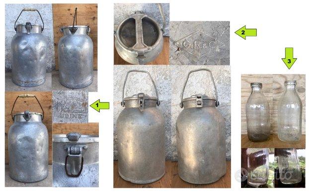 Contenitore porta latte vintage bottiglie 1 litro