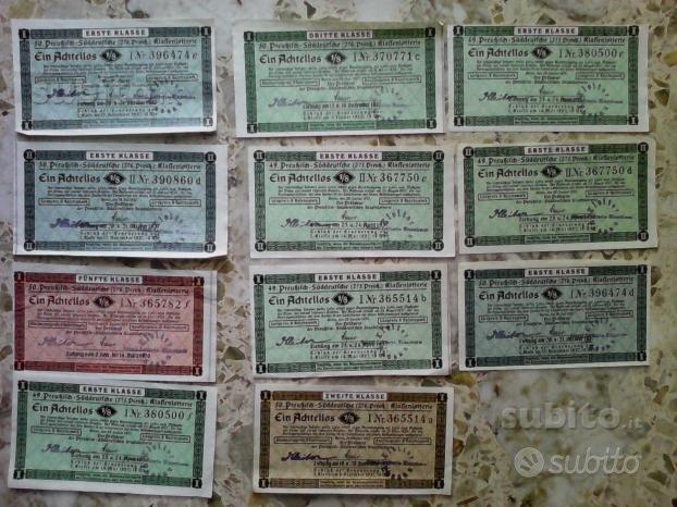 11 biglietti di una lotteria tedesca del 1937