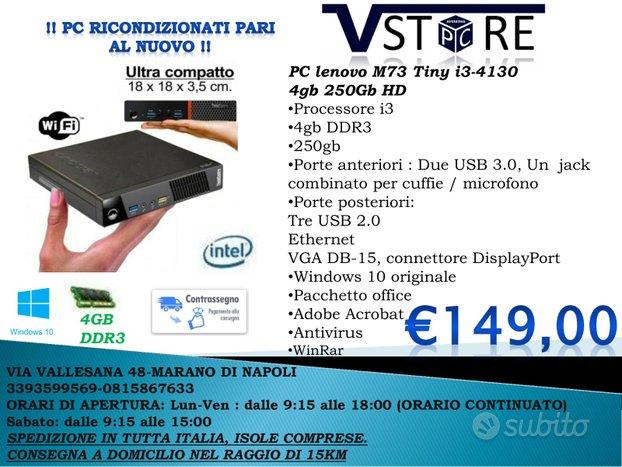 PC lenovo M73 Tiny i3-4130 4gb 250Gb HD