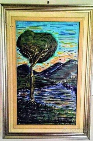 Olio su tela Paesaggio