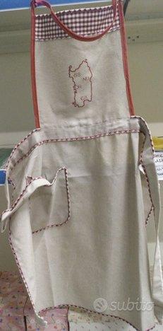 Grembiule con pettorina in cotone ricamo sardegna,Nuova CITTÀ