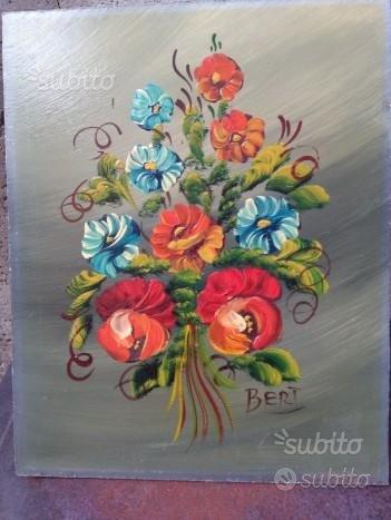 Antico dipinto ad olio su tavola - fiori
