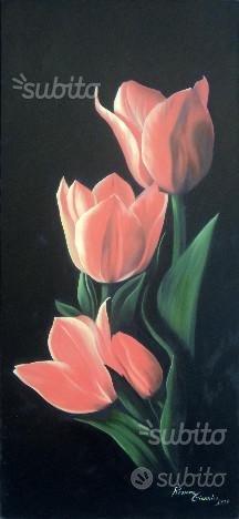 Quadro, fiori, olio su tela, cm 60x130