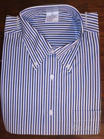 Camicia rigato, bianco e blue, 100% cotone. Nuove