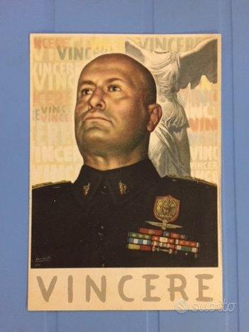 """Cartolina VINCERE Benito Mussolini """"DVCE D'ITALIA"""""""