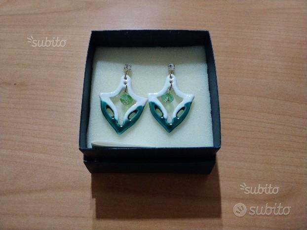 Orecchini bianchi/verdi artigianali in ceramica