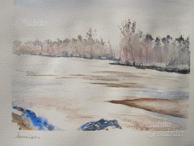 Acquerello su carta - Il fiume d'inverno,CALVI & BRAMBILLA