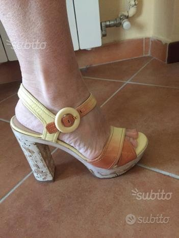 Scarpe PRADA ORIGINALI sandali tacco zeppa 38