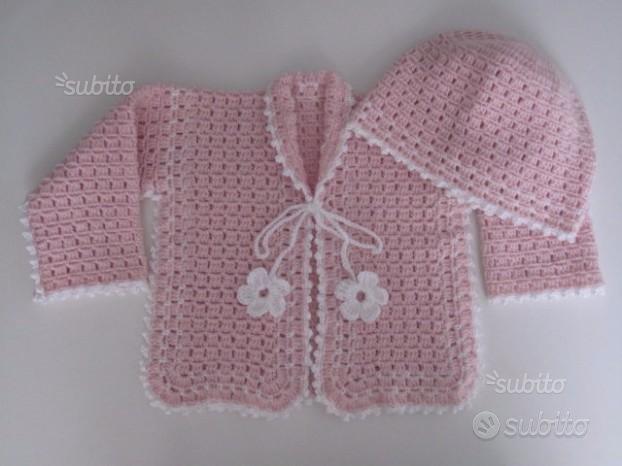 Golfino maglioncino cappellino neonata uncinetto