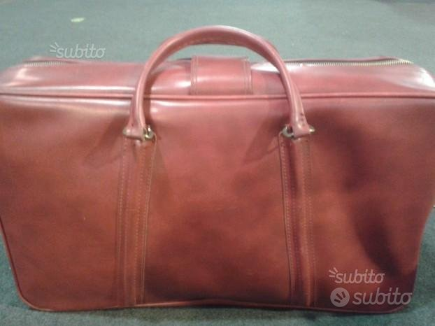 Valigia vintage pelle rossa