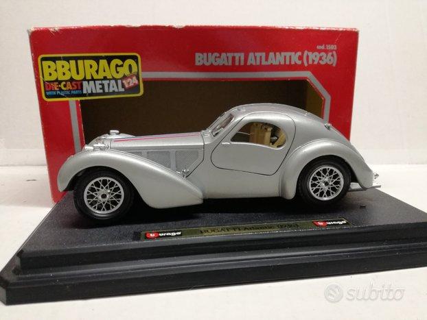 Modello auto bugatti atlantic grigia burago