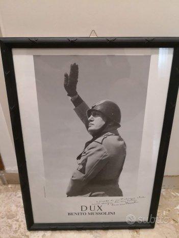 Cornice Artig. Benito Mussolini con dedica figlio