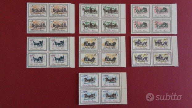 28 francobolli Carrozze dell'800 San Marino 1969