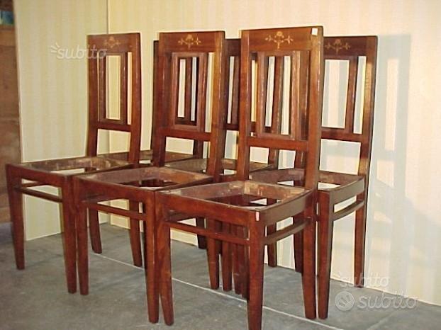 Gruppo 6 sedie Liberty