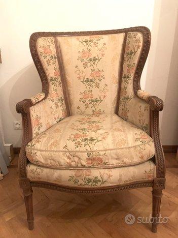 Seduta poltroncina noce Luigi XVI