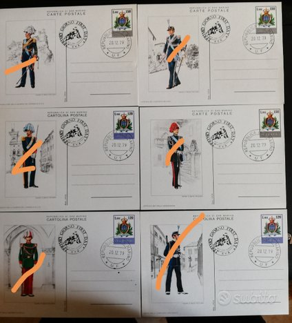 Serie 6 Cartoline Postali San Marino primo giorno