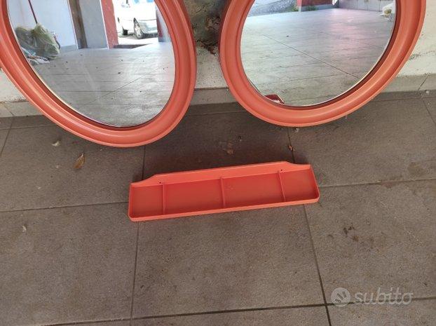 Specchio ovale e tondo anni 70 vintage arancione