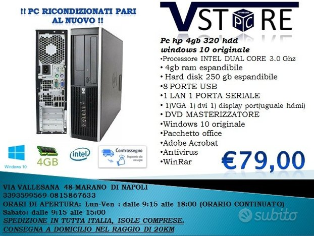 Pc hp 4gb 320 hdd SMARTWORKING E D.A.D