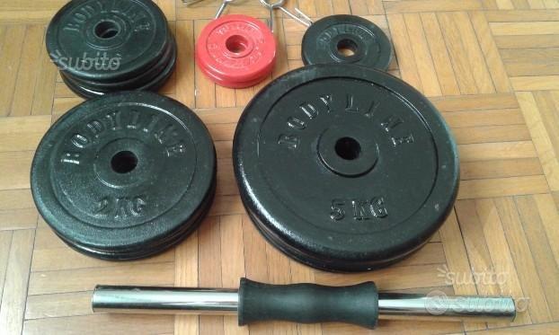 2 manubri + 34 kg PESI DISCHI in GHISA x PALESTRA