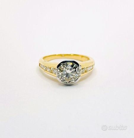 Anello solitario oro 18 kt diamante naturale (C)