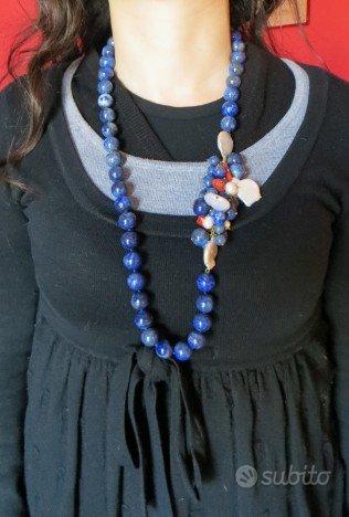 collana in lapislazuli perle barocche e corallo