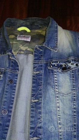 Giacca jeans senza maniche borchie tg xl