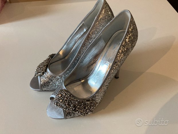 Scarpe donna n. 40 argento tacco 12 plateau 1,5c