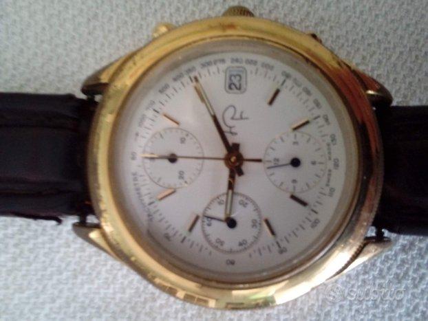 Orologio cronografo placcato in oro
