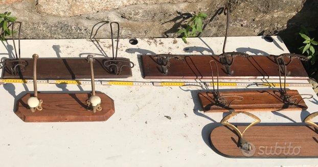 Attaccapanni vintage antichi ottone legno