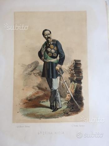 Litografia acquerellata G.le Della Rocca