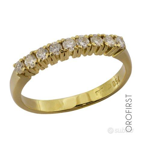 Anello veretta oro giallo e diamanti 0,31ct tot