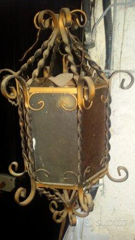 Lanterna Antica A Candela In Ferro battuto