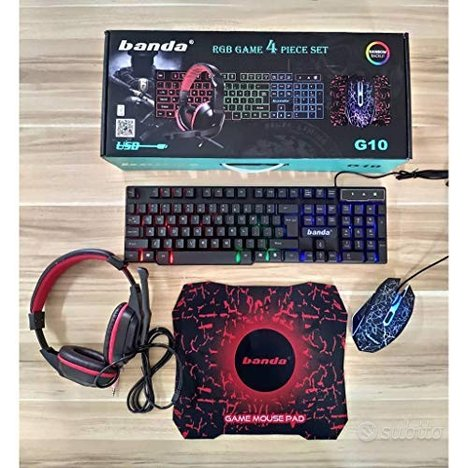 KIT GAMING (Mouse + Tastiera + Cuffie + Tappetino)