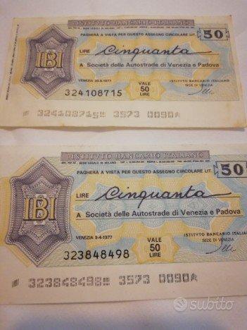 Due Miniassegni Istituto Bancario Italiano lire 50